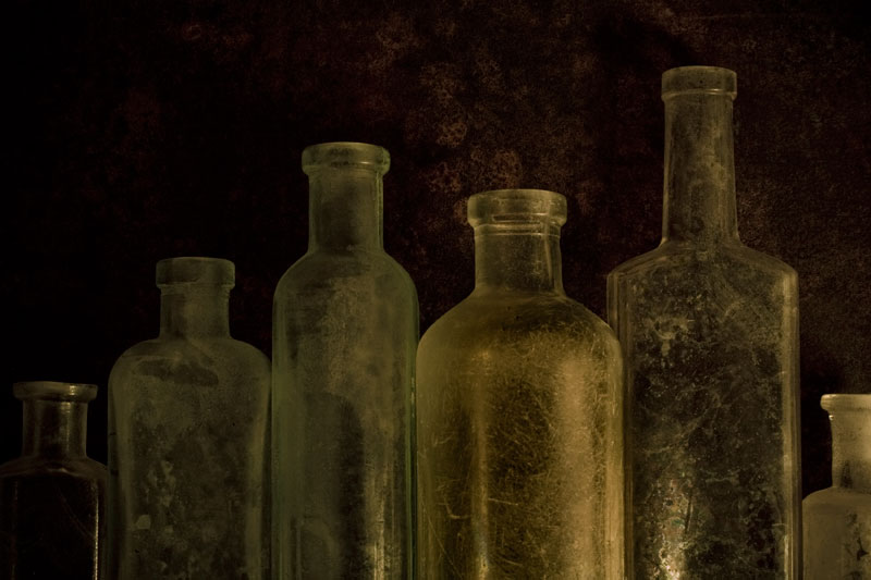 Six Old Bottles in a Row (Row and Number Series)
