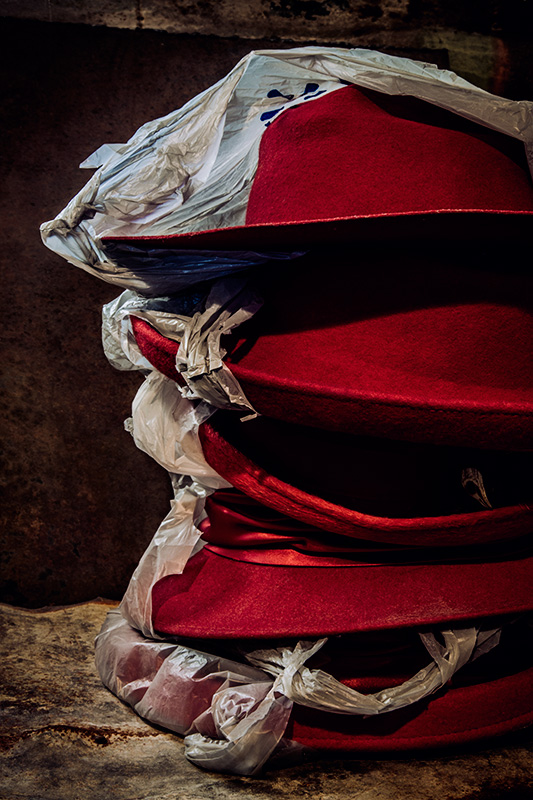 Five Red Hats in Bags