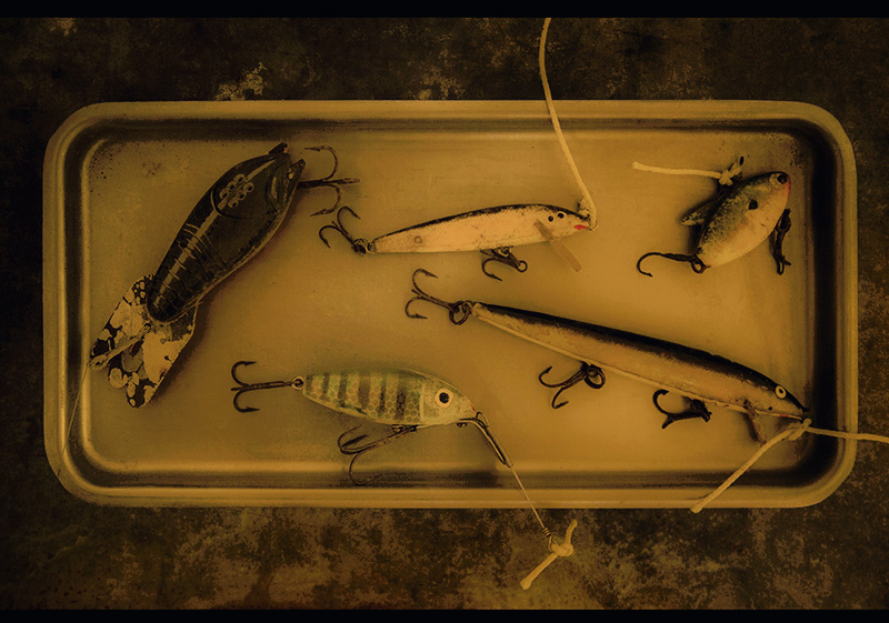 Five Lures on a Tray